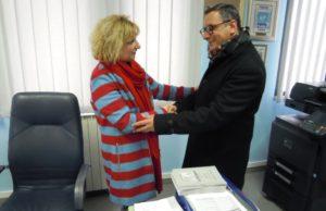 Antonio Marziale in visita all' Istituto Piria di Rosarno ricevuto dal dirigente Maria Rosaria Russo