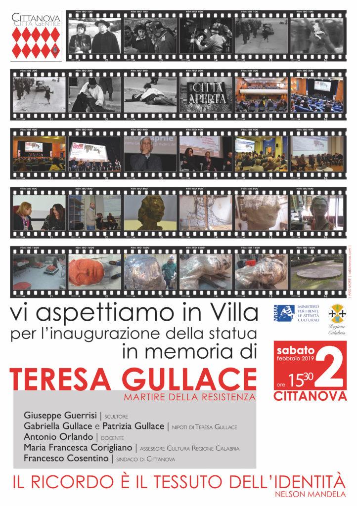 Locandina inaugurazione del monumento Teresa Gullace